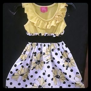 3T Yellow Flower and Polka Dot Dress